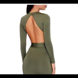 Oh Polly Dresses - NWT US 6 Oh Polly Khaki drape dress